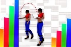 3d Women Laptop Wifi Transfer Illustration Stock Photos