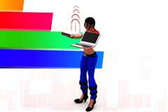 3d Women Laptop Wifi Transfer Illustration Royalty Free Stock Image