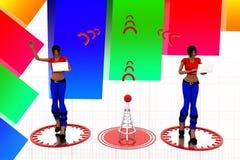 3d Women Laptop Wifi Transfer Illustration Royalty Free Stock Images