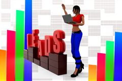 3d women leads illustration Stock Photography