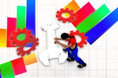 3d women leaning on a gear illustration Stock Photography