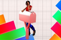 3d women leaning over mail box illustration Royalty Free Stock Photo