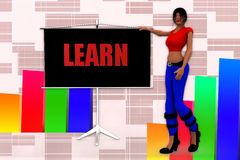 3d Women Learn Illustration Royalty Free Stock Photography