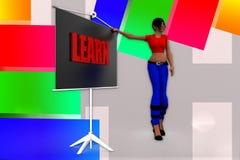 3d Women Learn Illustration Stock Photography