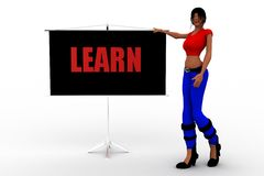 3d Women Learn Royalty Free Stock Images