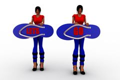 3d women  lets go Stock Images