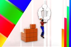 3d women lifting cargo illustration Royalty Free Stock Images