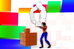 3d women lifting cargo illustration Royalty Free Stock Photo