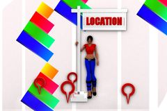 3d women location illustration Royalty Free Stock Image