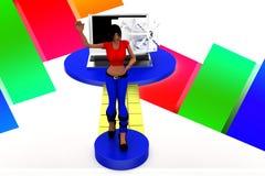 3d women lock laptop illustration Stock Image