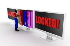 3d women locked data concept Stock Photo