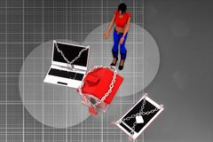 3d Women With Locked Laptop House And Mobile Phone Illustration Stock Photography