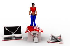 3d Women With Locked Laptop House And Mobile Phone Royalty Free Stock Image