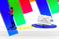 3d women locked laptop illustration Royalty Free Stock Photography