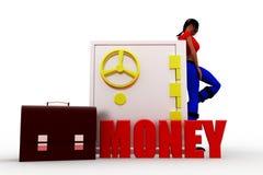 3d  Women locker money - briefcase Royalty Free Stock Photos