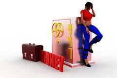 3d  Women locker money - briefcase Stock Photo