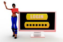 3d women login Royalty Free Stock Photos