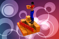 3d women logistics illustration Royalty Free Stock Photos