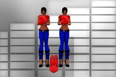 3d women love illustration Stock Photo