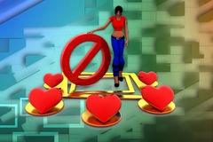 3d women  Love - Stop it illustration Royalty Free Stock Photography