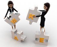 3d women with make alphabet puzzle concept Stock Photos