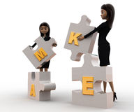 3d women with make alphabet puzzle concept Stock Photography