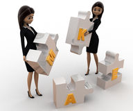 3d women with make alphabet puzzle concept Royalty Free Stock Image