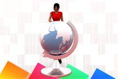3D women man earth globe  illustration Royalty Free Stock Photo