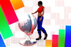 3D women man earth globe  illustration Royalty Free Stock Images