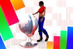 3D women man earth globe  illustration Royalty Free Stock Images
