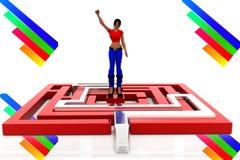 3d women maze solution illustration Stock Photo
