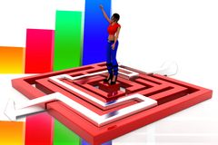 3d women maze solution illustration Stock Photos