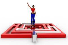 3d women maze solution Royalty Free Stock Photo