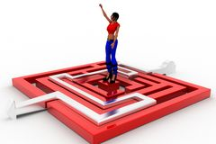 3d women maze solution Stock Image