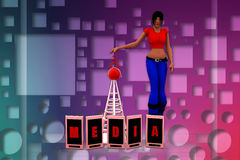 3d women media mobile phone illustration Stock Photos