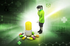 3d women with medicines Stock Photography