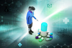 3d women with medicines Stock Image