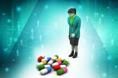 3d women with medicines Royalty Free Stock Images