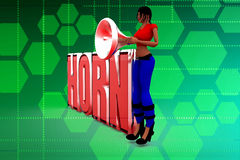 3d women mega phone Horn illustration Stock Images