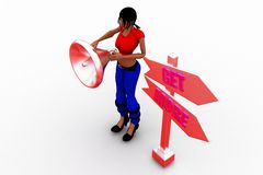 3D women megaphone get more Stock Photography
