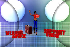 3d women mentor support coach advice illustration Stock Photo