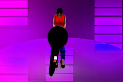 3d women with mic illustration Stock Images