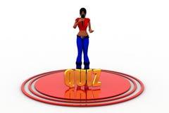 3d women mic quiz concept Stock Images