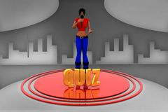 3d women mic quiz illustration Stock Photography