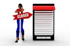 3d women mobile closed Stock Photos