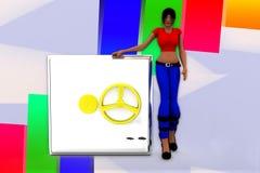 3d Women And Money Locker Illustration Royalty Free Stock Photography