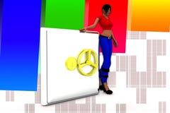 3d Women And Money Locker Illustration Royalty Free Stock Photos