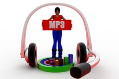 3d Women Mp3 Concept Royalty Free Stock Image