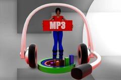 3d Women Mp3 Illustration Stock Photo