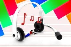 3d women music headphone Stock Photo